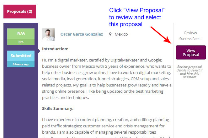 Select Proposal for job posted to hire virtual assistant Latin america
