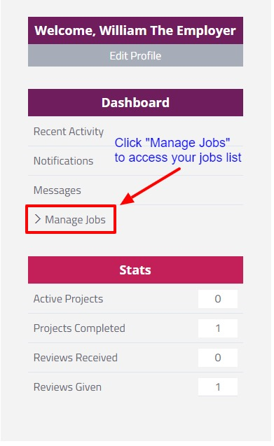 Manage jobs as an Emplyer