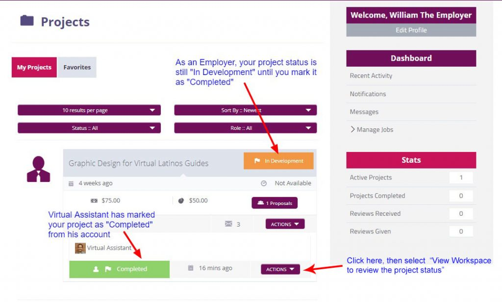"Manage job, click on ""View workspace"" to review project status"
