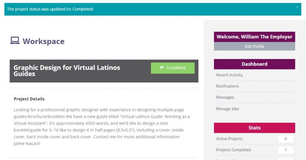 Virtual assistant job successfully marked as completed